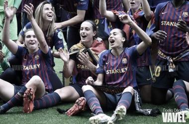 Las jugadoras del Barça en la celebración tras acceder a la final | Fuente: Noelia Déniz (VAVEL)