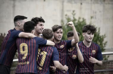 El FCB Juvenil B celebrando un gol este curso. Foto: Noelia Déniz, VAVEL