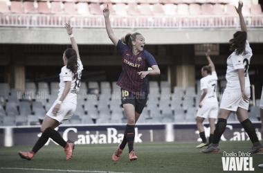La delantera de Liverpool, celebrando un gol en la Liga Iberdrola esta campaña | Foto: Noelia Déniz - VAVEL