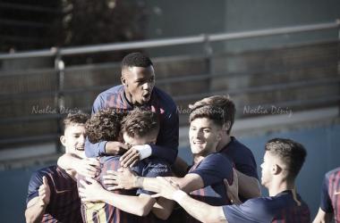 El FCB Juvenil A celebrando un gol contra el Girona. / Foto: Noelia Déniz (VAVEL)