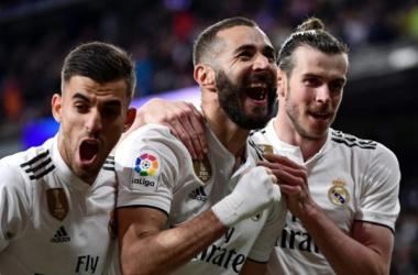 Benzema en su celebración de gol. Fuente: Vavel