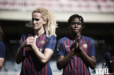 Hamraoui y Oshoala, jugadoras del FC Barcelona