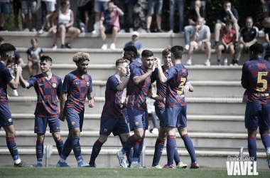 El FCB Juvenil A celebrando un gol en Liga. Foto: Noelia Déniz, VAVEL