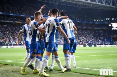 El Espanyol celebrando un tanto en Europa League. Foto de Noelia Déniz, VAVEL