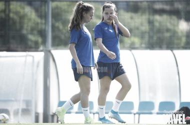 Candela Andújar y Claudia Pina en un entrenamiento. FOTO: Noelia Déniz