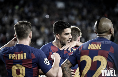Arthur, Suárez, De Jong y Vidal celebrando un gol.   Foto: Noelia Déniz