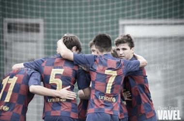 El FCB Cadete A celebrando un gol esta jornada. Foto: Noelia Déniz, VAVEL