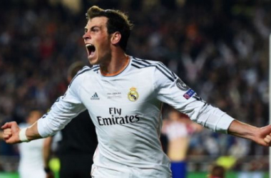 Gareth Bale celebrates his extra-time goal against Atletico Madrid, which gave Real Madrid a 2-1 lead against city rivals Atletico Madrid in the final. The goal would turn out to be the goal that would give Real Madrid their 10th major European trophy bet