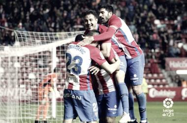 Jugadores del Sporting celebrando un gol | Foto: LaLiga
