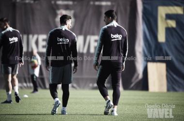 Leo Messi y Luis Suárez en el último entrenamiento de la semana | Foto de Noelia Déniz, VAVEL