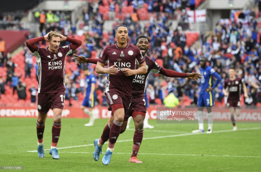 LONDON, ENGLAND - MAY 15: Youri Tielemans celebrates scoring a goal to make it 1-0 during The Emirates FA Cup Final match between Chelsea and Leicester City at Wembley Stadium on May 15, 2021 in London, England. A limited number of around 21,000 fans, subject to a negative lateral flow test, will be allowed inside Wembley Stadium to watch this year's FA Cup Final as part of a pilot event to trial the return of large crowds to UK venues. (Photo by Michael Regan - The FA/The FA via Getty Images)