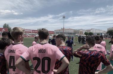 Los jugadores del Barça B antes de la tanda de penalties| Foto: FC Barcelona