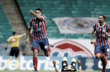 Ramírez comemora o segundo gol (Foto: Felipe Oliveira/EC Bahia)