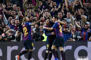 Celebración de uno de los goles en el partido de ida de las semifinales de la UEFA Champions League   Foto de Noelia Déniz, VAVEL