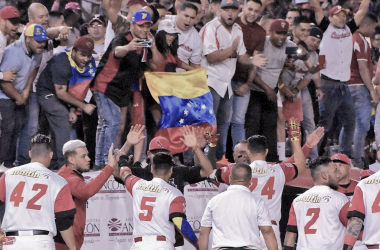 Venezuela celebra su triunfo ante México, foto: Twitter oficial Cardenales de Lara.