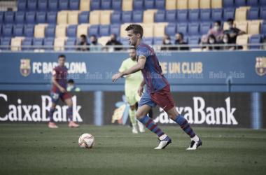 Arnau Comas disputando un encuentro ante el Andorra. | Foto: FC Barcelona
