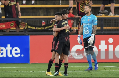 KENNESAW, GA APRIL 13: Atlanta United midfielder Marcelino Moreno (10) congratulates teammate Jurgen Damm (22) after Damm scored a second-half goal during the Concacaf Champions League match between LD Alajuelense and Atlanta United FC on April 13th, 2021 at Fifth Third Bank Stadium in Kennesaw, GA. (Photo by Rich von Biberstein/Icon Sportswire via Getty Images)