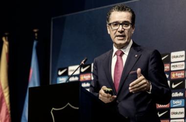 Josep Vives, portavoz del Barça en plena reunión. Foto: FC Barcelona.