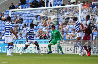 Issa Diop of West Ham United scores the opening goal during the pre-season friendly between Reading and West Ham United at Madejski Stadium on July 21, 2021 in Reading, England. (Photo by Marc Atkins/Getty Images)