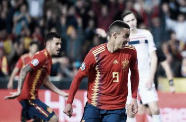 Rodrigo durante el partido clasificatorio ante Noruega | Fotografía: UEFA