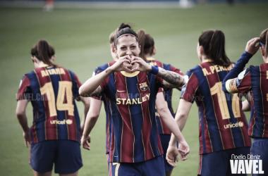 Jenni Hermoso celebrando uno de sus goles. | Foto: Noelia Déniz
