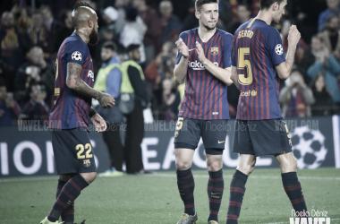 Los jugadores del Barça celebrando la victoria ante el United | Fuente: Noelia Déniz (VAVEL)