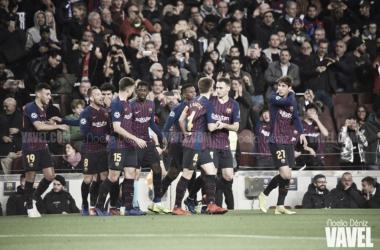 Los azulgranas celebrando un gol | Foto de Noelia Déniz, VAVEL
