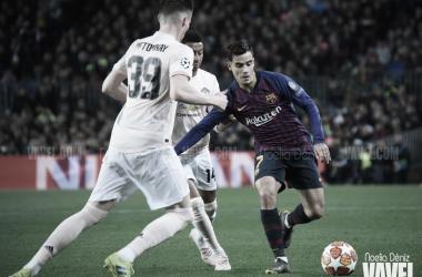 Coutinho y Gerard Piqué celebrando un gol | Fuente: Noelia Déniz (VAVEL)