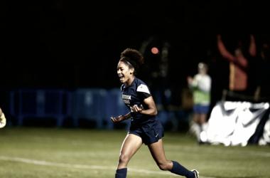 Nadia Gomes celebrates after goal for BYU. Photo Courtesy: BYU Photo
