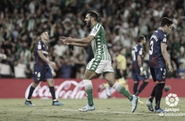 Borja Iglesias tras su gol ante el Levante | Foto: LaLiga Santander
