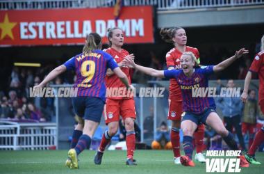 Mariona y Duggan celebrando el 1-0 del FC Barcelona | Fuente: Noelia Déniz (VAVEL)