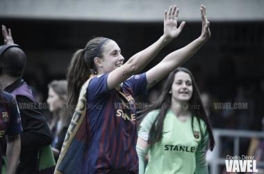 Alexia Putellas durante la celebración en el Miniestadi | Fuente: Noelia Déniz (VAVEL)