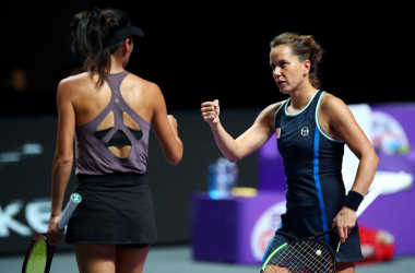 Hsieh and Strycova celebrate winning a point | Photo: Clive Brunskill