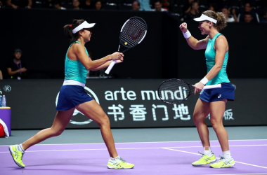 Stosur and Zhang celebrate their huge win | Photo: Clive Brunskill