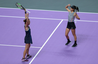 Hsieh and Strycova celebrate their win | Photo: Lintao Zhang