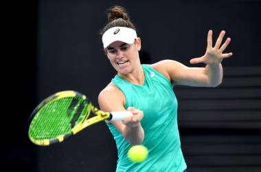 Qualifier Jennifer Brady will be playing her first ever quarterfinal match at a Premier event when she meets Petra Kvitova in the last eight in Brisbane. Photo: Bradley Kanaris/Getty Images.