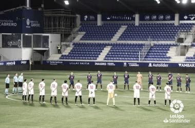 Imagen del encuentro de la primera vuelta en El Alcoraz (0-1) / Laliga
