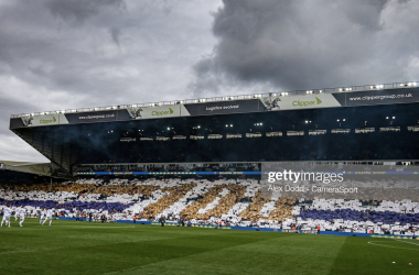 LEEDS, ENGLAND - OCTOBER 19: Leeds United fans celebrate 100 years of history during the Sky Bet Championship match between Leeds United and Birmingham City at Elland Road on October 19, 2019 in Leeds, England. (Photo by Alex Dodd - CameraSport via Getty Images)