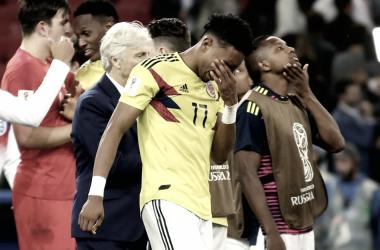Johan Mojica llora tras la eliminación de Colombia del Mundial | Fotografía: FCF.com