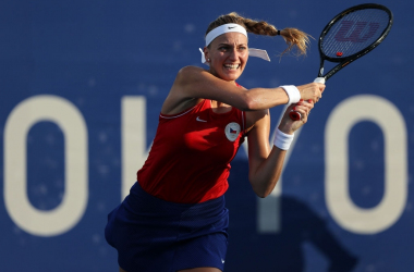 Petra Kvitova earned her first win in four tries in the opening round of the Tokyo Olympics as she moved past Jasmine Paolini in straight sets. Photo: Clive Brunskill
