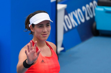 """<font face=""""Google Sans, arial, sans-serif-medium, sans-serif"""">Garbiñ</font>e<font face=""""Google Sans, arial, sans-serif-medium, sans-serif""""><span>&nbsp;Muguruza of Spain, seeded seventh at the Tokyo Olympics, gestures a wave after making it to the last 16 with another straight-set victory. Photo: Tiziana Fabi</span></font>"""