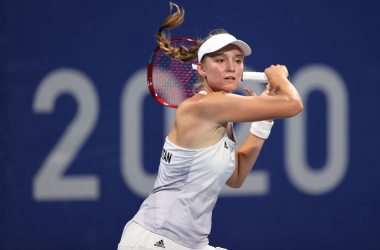 Elena Rybakina, representing Kazakhstan, is an Olympic quarterfinalist, in her debut appearance at this stage, at the Tokyo Games. Photo: Clive Brunskill