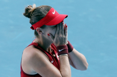 Swiss Belinda Bencic, the ninth seed at the Tokyo Olympics, shows emotions after sealing her semifinal berth with a defeat of Anastasia Pavlyuchenkova. Photo: Giuseppe Cacace