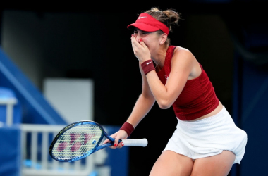 Ninth seed Belinda Bencic reacts after seeing off 15th seed Elena Rybakina in three sets in their semifinal encounter at the Tokyo Olympics. Photo: Icon Sportswire