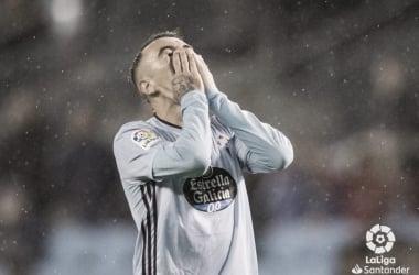 Iago Aspas desolado por la derrota de su equipo | Fuente: La Liga Santander.