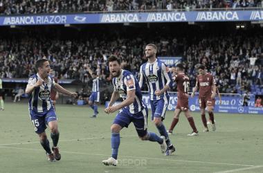 Borja Valle celebra su gol ante el Córdoba // RCDeportivo