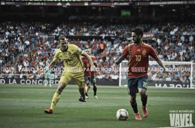 Álvaro Morata, uno de los tres goleadores del España - Suecia en el estadio Santiago Bernabéu | Foto: UEFA.com