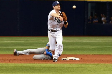 Clear Photo of Bautista grabbing the leg of 2B Logan Forsythe to break up a double play. (credit: Kim Klement, USA Today Sports)