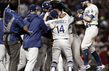 NLDS Game 3: Dodgers atDiamondbacks - The Los Angeles Dodgers celebrate their victory against theArizona Diamondbacks. |Source – Mark Rebilas/USA TODAYSports|