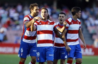 Los jugadores del Granada, C.F. celebran uno de los goles conseguidos. Fuente: LaLiga
